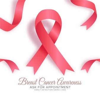 Tło miesiąca świadomości raka piersi z wstążką