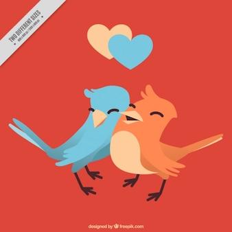 Tło miłości para ptaków