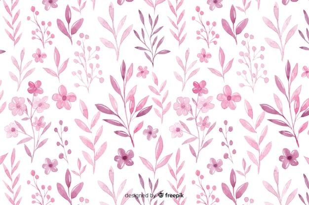 Tło monochromatyczne akwarela różowe kwiaty