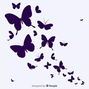 Tło motyla rój sylwetka