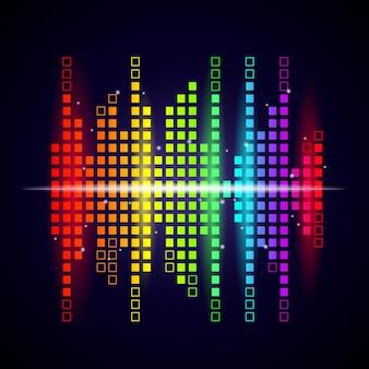 Tło muzyczne fale. kolorowy korektor kształtuje logotyp studia wizualizacji dźwięku i głosu.