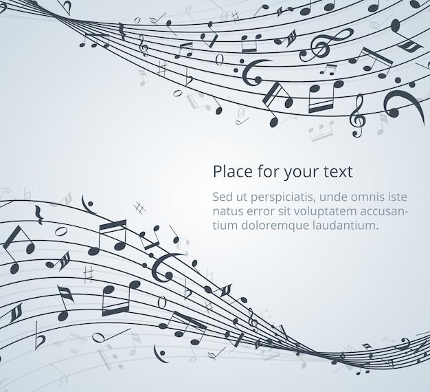 Tło muzyczne notatki z miejscem na tekst