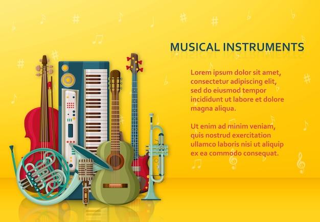 Tło muzyczne wykonane z różnych instrumentów muzycznych, klucz wiolinowy i nuty. miejsce na tekst