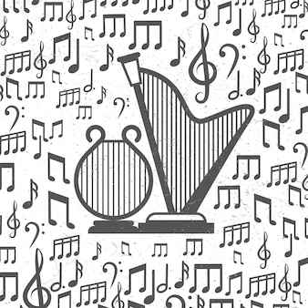 Tło muzyczne z harfami i notatkami