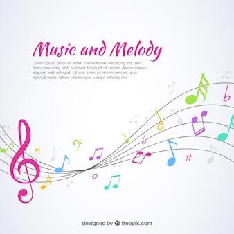 Tło muzyczne z pentagramem i kolorowe notatki