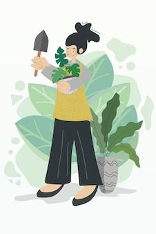 Tło na białym tle ilustracje kobieta ogrodnictwo gwasz szczęśliwe obiekty wzór słoiki
