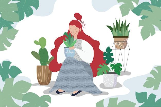 Tło na białym tle ilustracje kobieta ogrodnictwo gwasz szczęśliwy wzór obiektów