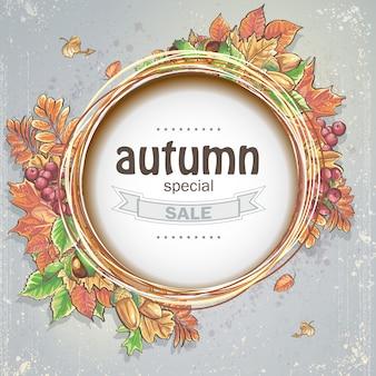 Tło na dużą jesienną wyprzedaż z wizerunkiem jesiennych liści, żołędzi, kasztanów i jagód kaliny