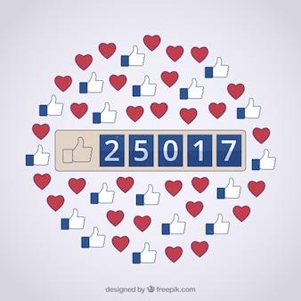 Tło na facebooku z ikonami podobnymi i serca