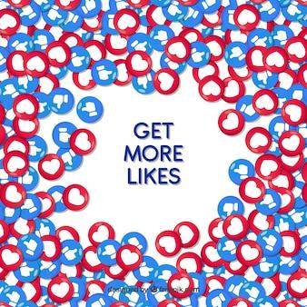 Tło na facebooku z sercami i lubi