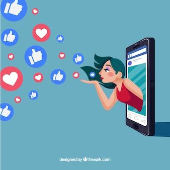 Tło na facebooku z sercem i podobną ikoną