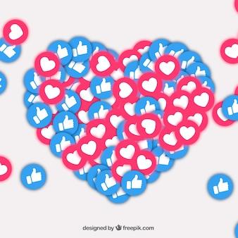 Tło na facebooku z sympatiami i sercami