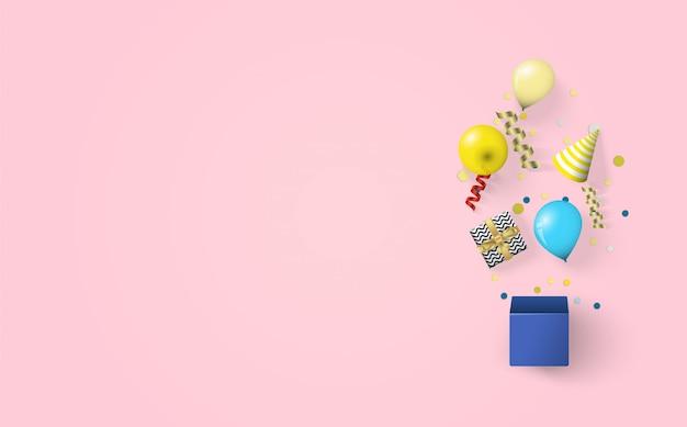 Tło na obchody urodzin z ilustracjami pudełek, balonów i czapek urodzinowych na różowym tle.