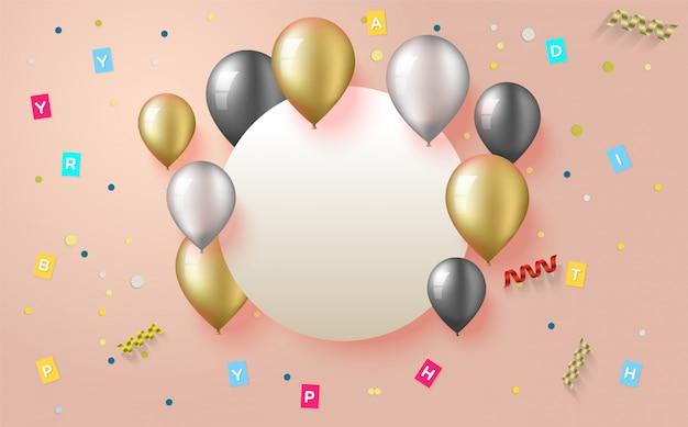 Tło na przyjęcie urodzinowe ze złotymi, białymi i czarnymi balonowymi ilustracjami.