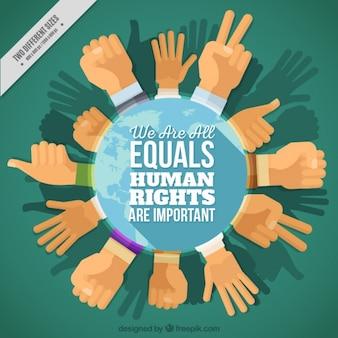 Tło na temat praw człowieka, w kręgu ręce