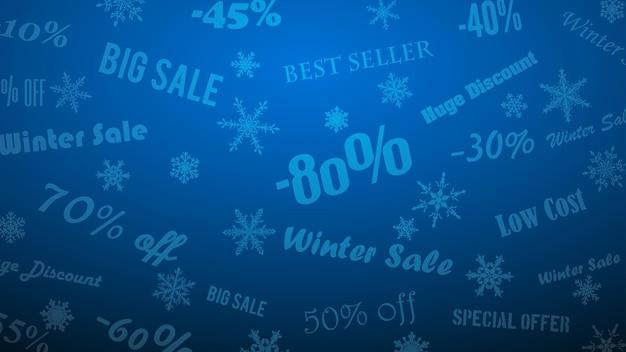 Tło na zimowe rabaty i oferty specjalne, wykonane z płatków śniegu i napisów, w kolorach niebieskim