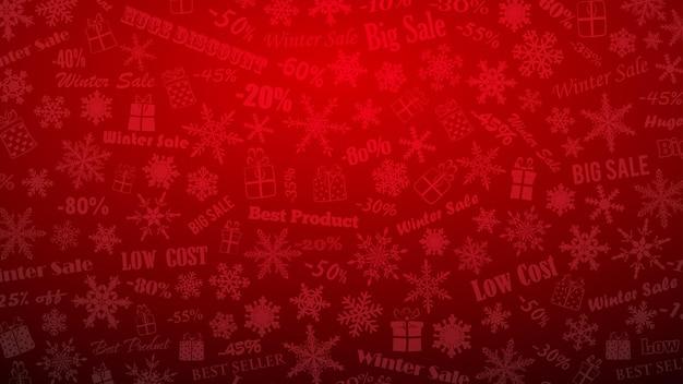 Tło na zimowe rabaty i oferty specjalne, wykonane z płatków śniegu, napisów i pudełek prezentowych, w czerwonych kolorach