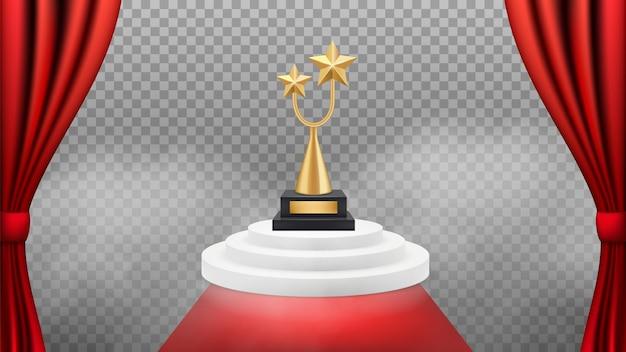 Tło nagrody. złote trofeum na białym podium i czerwonym dywanie i zasłonach. realistyczne, nagradzane tło. vip celebrity event, triumph and success illustration