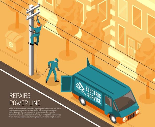 Tło naprawy linii energetycznej