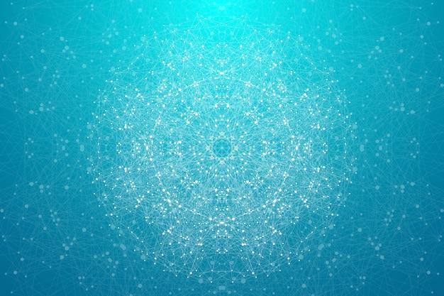 Tło nauki wielokąta z łączenie kropek i linii.