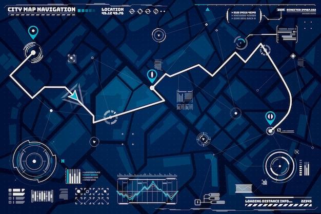 Tło nawigacji hud. tło interfejsu ekranu nawigacji mapy miasta z kompasem, wykresami i punktami mapy na ekranie komputera. podróż samochodem lub miejsce docelowe dostawy i mapa trasy lokalizacji na ulicach miasta