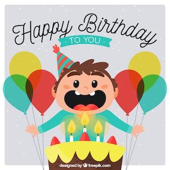 Tło nice little boy dmuchanie świeczki urodzinowe
