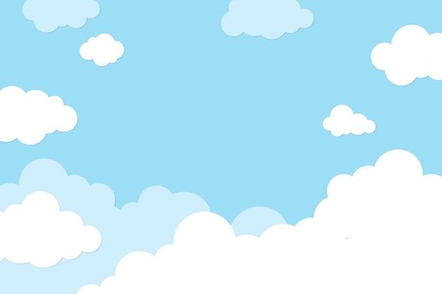 Tło nieba, pastelowy papier wycinany wektor