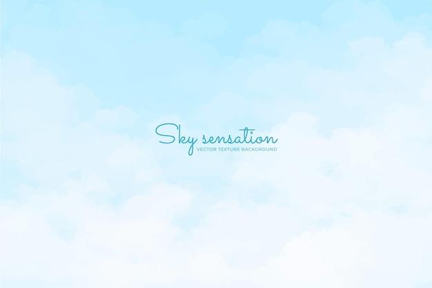 Tło nieba w pastelowych kolorach i ręcznie malowanym stylu