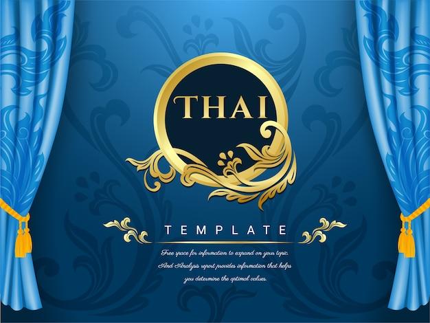 Tło niebieskie zasłony, tajska tradycyjna koncepcja.