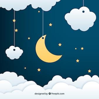 Tło nocne niebo w papierowym stylu