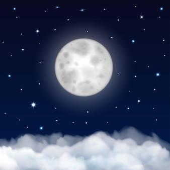 Tło nocnego nieba z księżycem, gwiazdami i chmurami