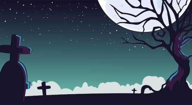 Tło nocy halloween z cmentarzem i księżycem