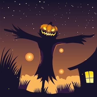 Tło nocy halloween z strach na wróble