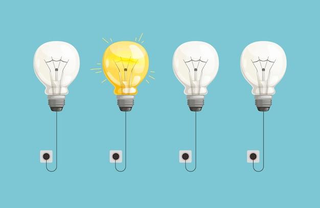 Tło nowego pomysłu. lampowe żarówki zaświecają ilustrację