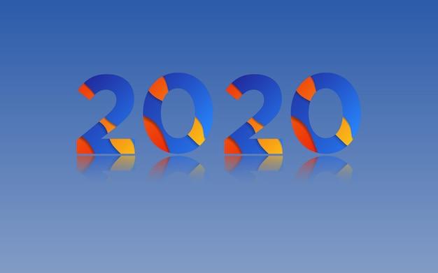 Tło nowego roku 2020, niebiesko-pomarańczowy nakładający się na tapetę szczęśliwego nowego roku 2020