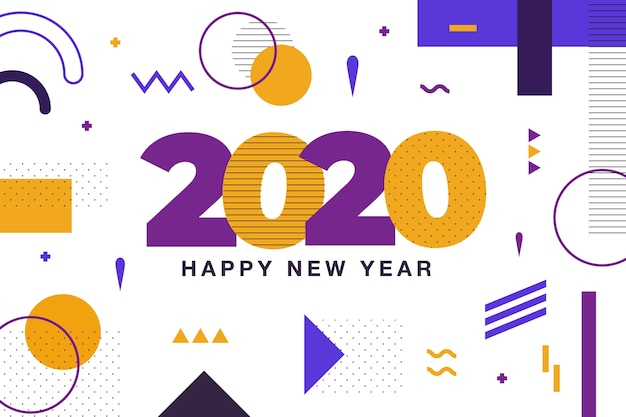 Tło nowego roku 2020 w stylu memphis