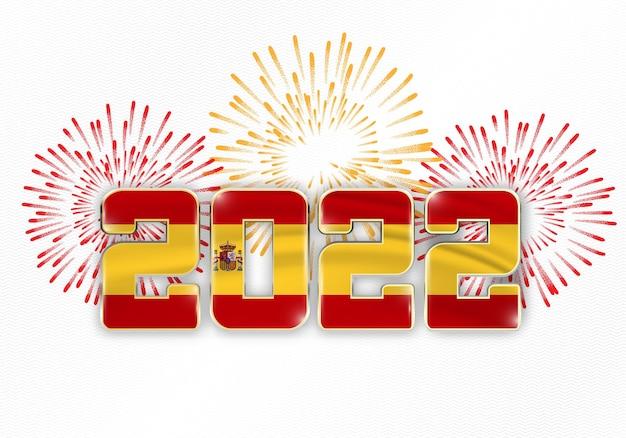 Tło nowego roku 2022 z flagą narodową hiszpanii i fajerwerkami
