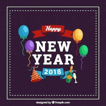Tło nowego roku z balonami