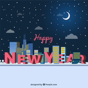 Tło nowego roku z budynkami