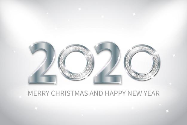 Tło nowego roku ze srebrnym metalem i efektem połysku.