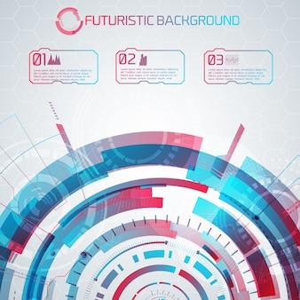 Tło nowoczesnej technologii wirtualnej z futurystycznym półkolem i numerowanymi przyciskami dotykowymi z piktogramami i podpisami