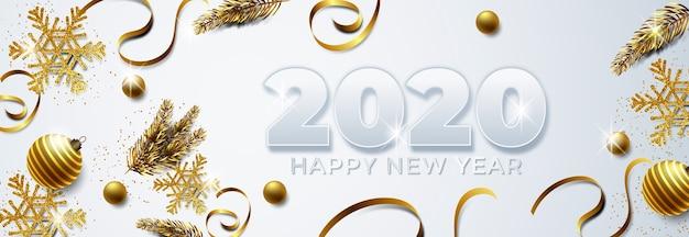 Tło nowy rok z złotą dekoracją
