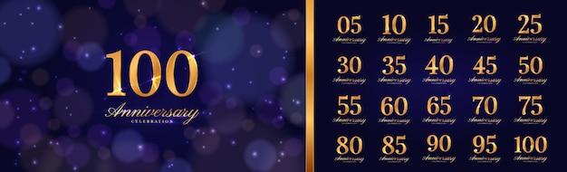 Tło obchodów rocznicy ze złotym numerem roku, świecące światło i ciemne tło bokeh