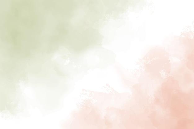 Tło obrysu pędzla akwarela zielony i brzoskwiniowy pomarańczowy