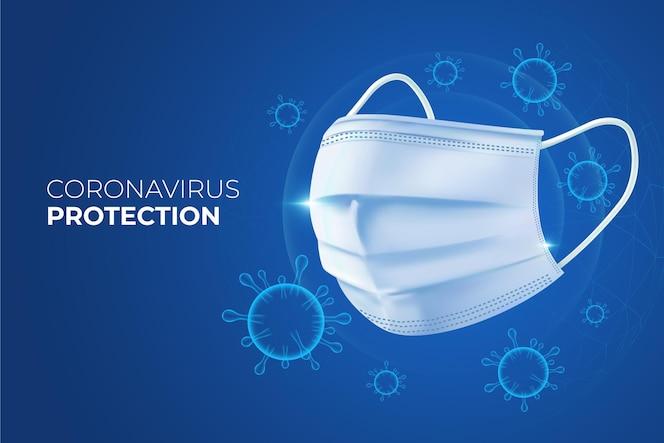 Tło ochrony koronawirusa z maską na twarz