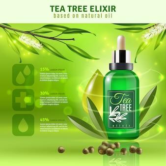 Tło olejek z drzewa herbacianego