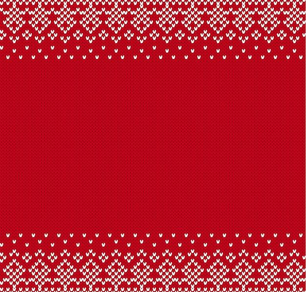 Tło ornament geometryczny z dzianiny z pustym miejscem na tekst. dzianinowy wzór na sweter.