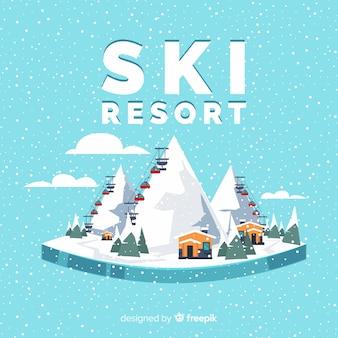 Tło ośrodka narciarskiego
