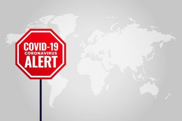 Tło ostrzeżenia koronawirusa covid-19 z mapą świata