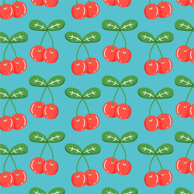 Tło owoców z ręcznie rysowane wiśni
